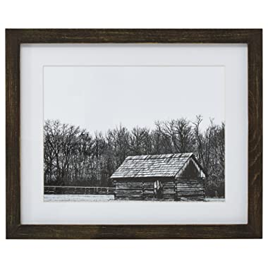 Stone & Beam Framed Rustic Black and White Cabin Photo Print Wall Art Decor - 18 x 22 Inch, Brown