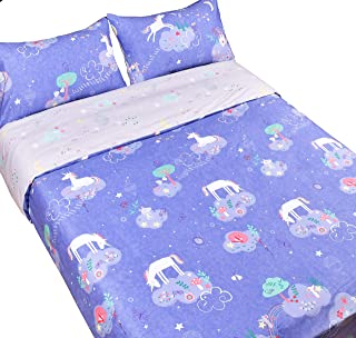 "J-pinno Unicorn Dreaming Sweet Cartoon Reversible Duvet Cover Set with Zipper Closure, 100% Cotton Kids Girls Bedding Set F/Q 3 Pieces (1 Duvet Cover + 2 Pillowcase) (Unicorn, Full/Queen 90"" X 90"")"