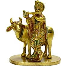 Vrindavan Bazaar Brass Statue Krishna with Cow