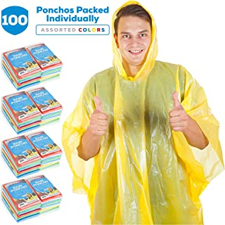 Wealers Rain Ponchos for Adults Teens Disposable Rain Poncho Bulk Pack for Women Men Emergency Raincoat for Large Groups Theme Parks Camping Outdoors Multi Colors Waterproof Rain Ponchos