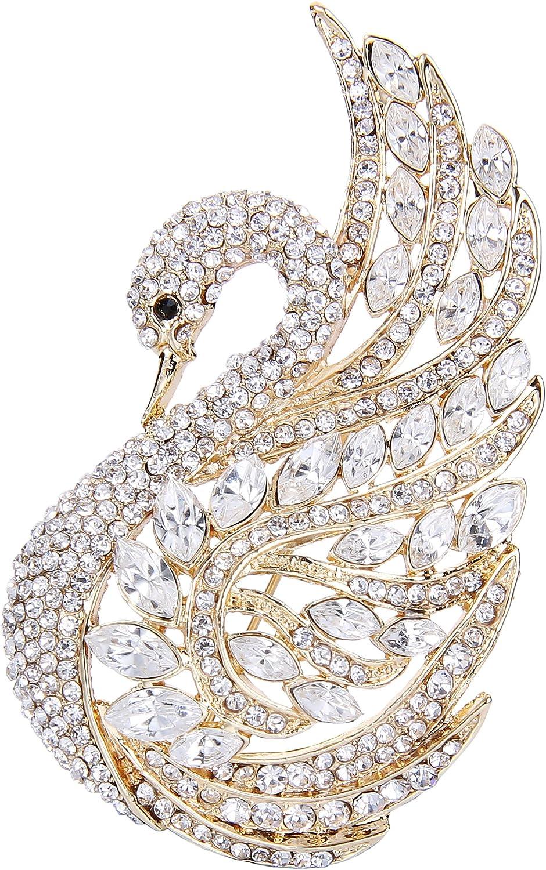 EVER FAITH Women's Austrian Crystal Elegant Swan Bird Bridal Brooch Pin
