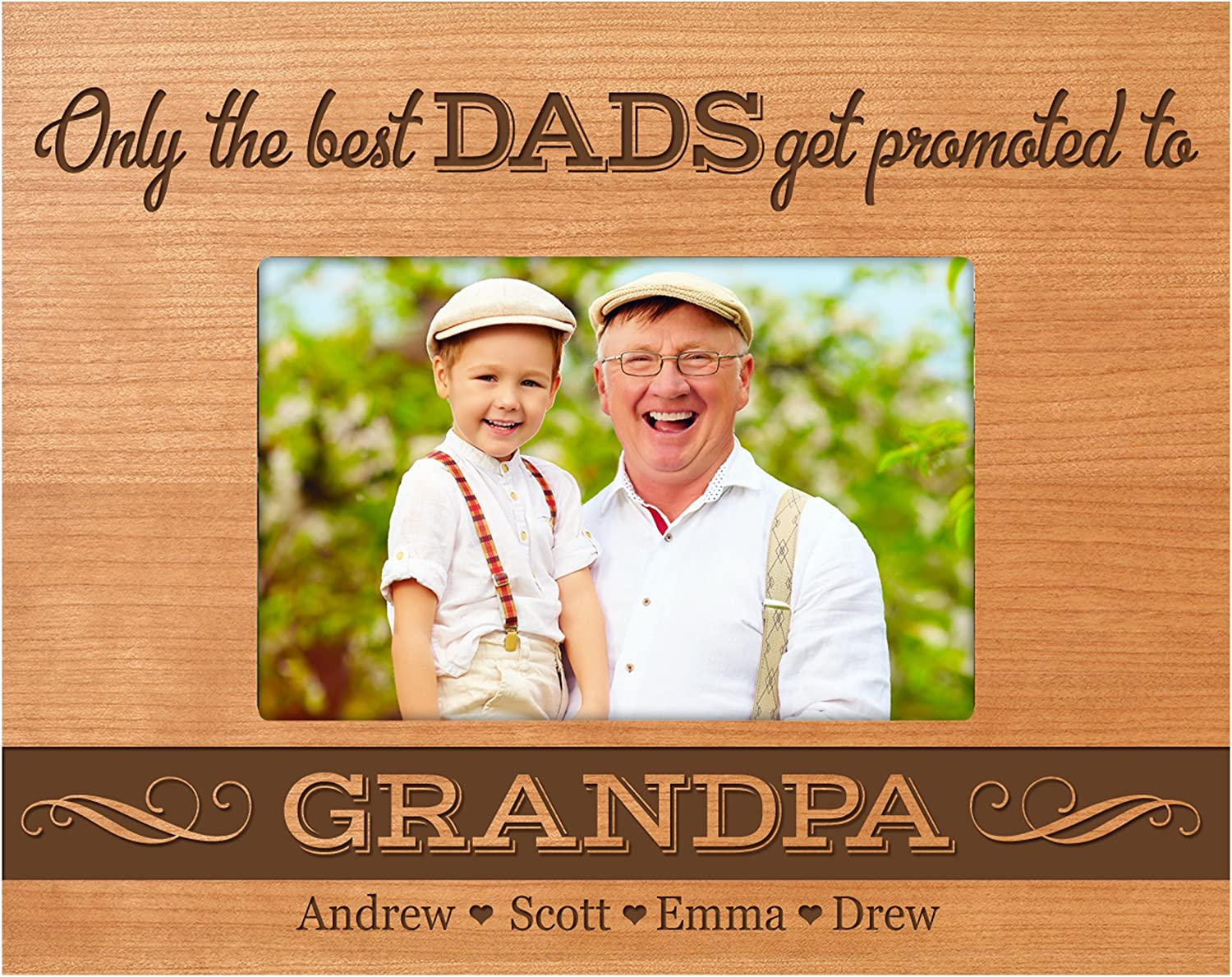 Dad Gift The Best Dads Get Promoted To Grandpa Personalized Picture Frame Father Gift Grandpa Frame