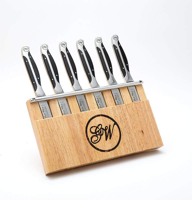 Gunter Wilhelm Cutlery 7pc Steak Knife Set Black Pakkawood Handles