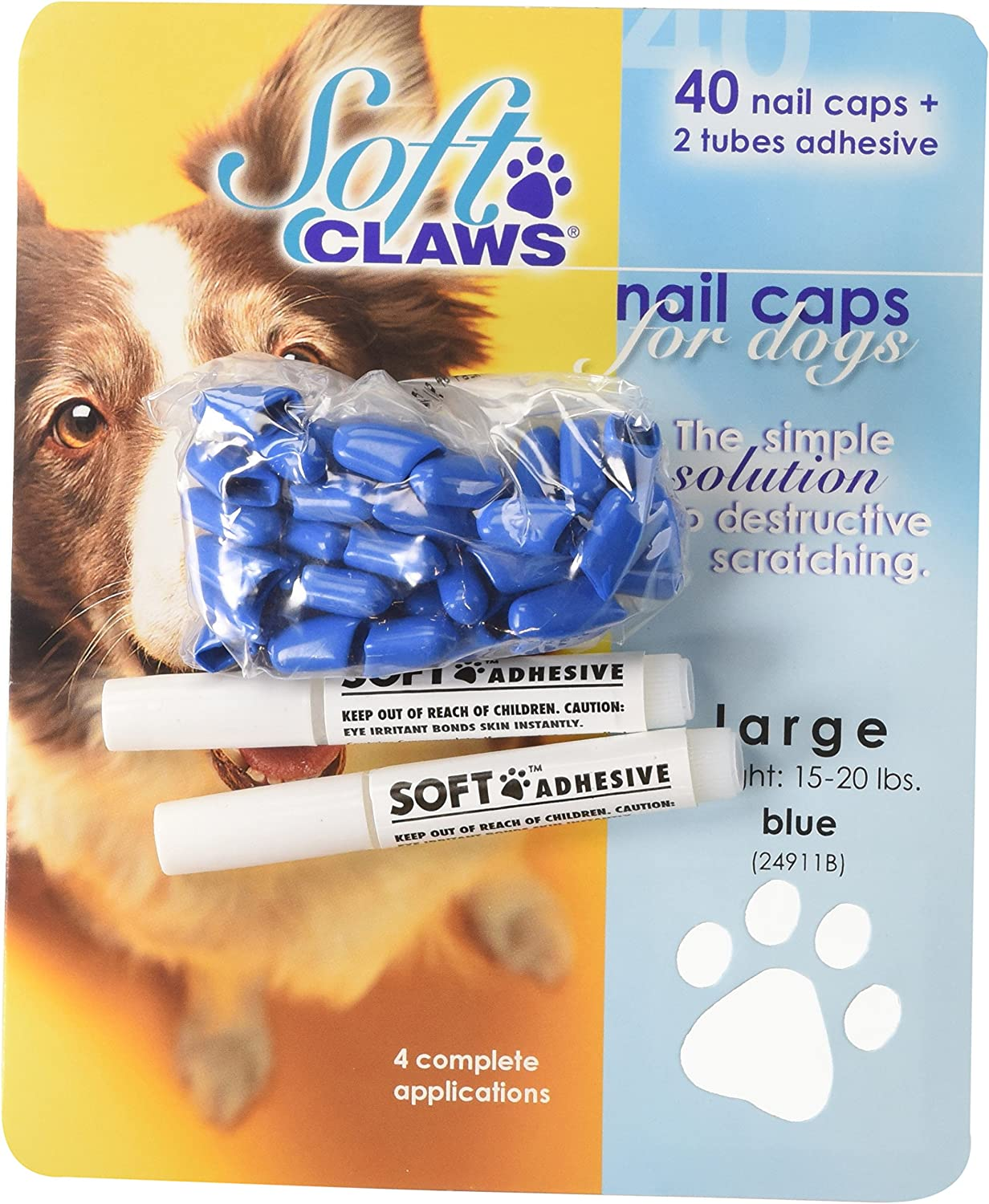Canine Soft Claws Dog Houston Mall Nail Caps Max 52% OFF Kit Large Take Home Blue