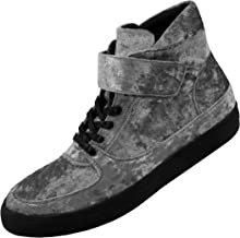 Sio The Original Mens Crushed Velvet High Top Sneaker, Lace up Casual Shoes with Strap, Style Voss