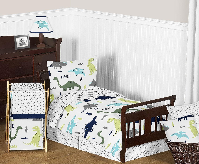 Sweet Jojo Designs 5-Piece Navy bluee and Green Modern Dinosaur Boys or Girls Toddler Bedding Comforter Sheet Set