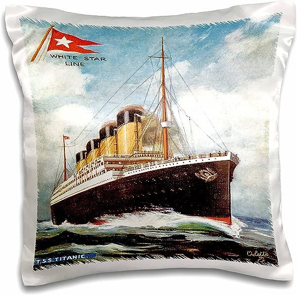3dRose Pc 149236 1 Vintage White Star Line Ss Titanic Pillow Case 16 X 16
