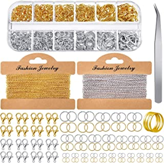 Jewelry Making Chains 49.2 Feet Stainless Steel Link Chains 1000 Pieces Jump Rings 40 Pieces Lobster Clasps with Curved Tw...