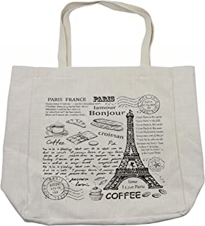 Ambesonne Paris Shopping Bag, Traditional Famous Parisian Elements Bonjour Croissan Coffee Eiffel Tower Print, Eco-Friendly Reusable Bag for Groceries Beach and More, 15.5