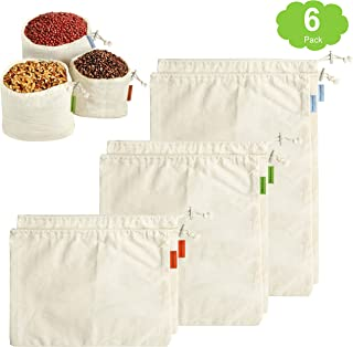 Bnbpro Reusable Produce Bags, Muslin Grocery Shopping Bulk Bin Bags for Bulk Food, Set of 6 | Organic Cotton | Biodegradable, Eco Friendly | Machine Washable | Tare Weight on Tags | 2S+2M+2L