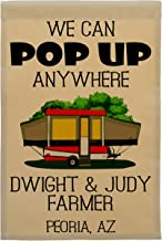 We Can Pop Up Anywhere Pop-up Camper Personalized Campsite Flag, Customize Your Way (Red Pop-up)