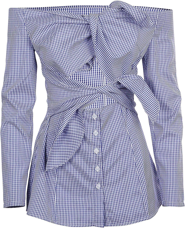 Jovonna London Women's 350ARKETNAVYPINSTRIPE bluee Cotton Blouse