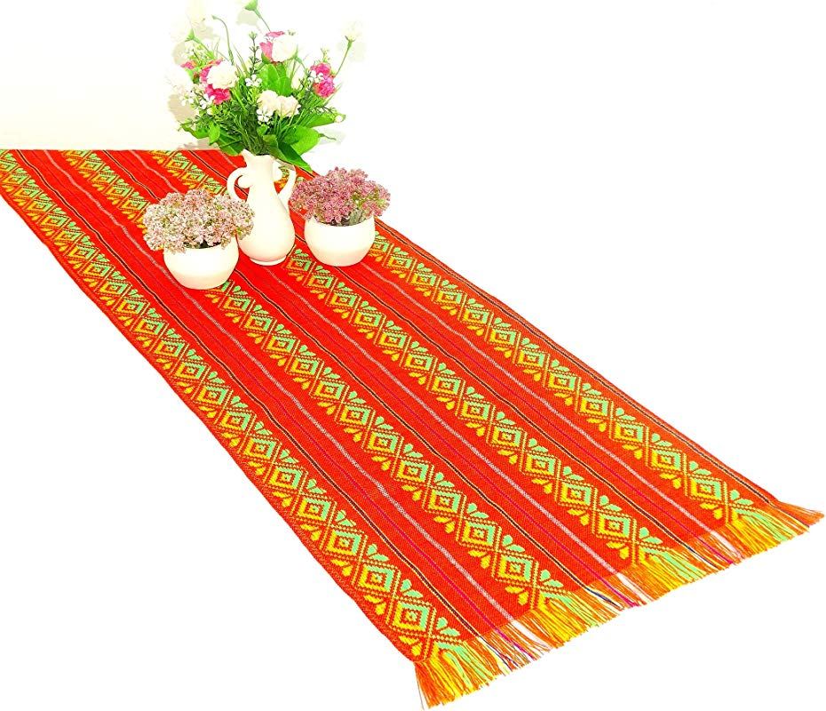 Orange Mexican Table Runner Aztec Table Cloth Mexican Wedding Day Of The Dead Party Decor Colorful Fiesta Decorations 1472 Inches