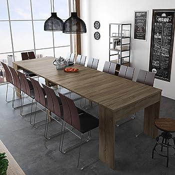 SelectionHome - Mesa de Comedor Consola Extensible hasta 301 cm, Acabado Roble Oscuro, Medidas Cerrada: 90x49x75 cm de Alto: Amazon.es: Hogar