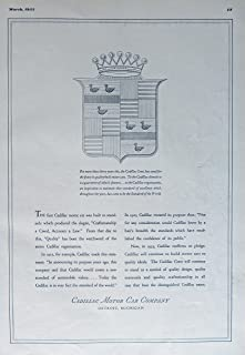 Cadillac Motor Car Company, 30's Print Ad. B&W Illustration (the Cadillac Crest) authentic original vintage 1935 Esquire Magazine Art