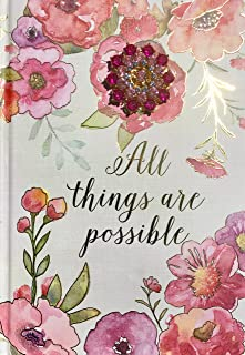 Pooch & Sweetheart Floral Gold Foil Brooch Embellished Scripture Hardcover Journal, All Things are Possible. (73887)