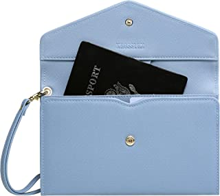 Krosslon Travel Passport Holder Wallet for Women RFID Blocking Document Organizer Tri-fold Wristlet Bag, 12# Denim Blue