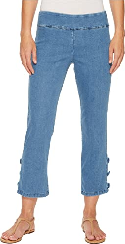 Elliott Lauren - Stretch Denim Pull-On Crop Pants with Covered Button