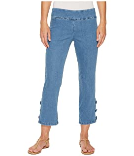 Stretch Denim Pull-On Crop Pants with Covered Button