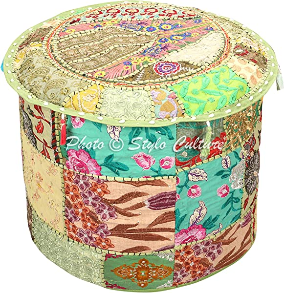 Stylo Culture Indian Vintage Pouf Ottoman Foot Stool Cover Round Patchwork Embroidered Pouffe Ottoman Cover Green Cotton Floral Traditional Furniture Footstool Seat Puff Cover 16x16x13
