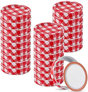 48pcs/24Set Regular Mouth Canning Lids Bands Split-Type for Mason Jar Canning Lids (red and white)