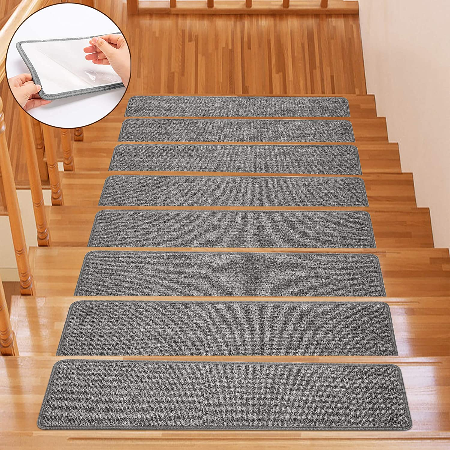 13-Pack, Grey Terry Surface Non-Slip Blanket Stair Stepping Mat 8 x 30 Indoor Comfort Soft Stair Stepping Mat