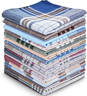 30 عدد دستمال نخی مردانه دستمال دستمال طرحدار شطرنجی Soft Plaid Hanky Cotton Pocket Square Hankies ، هدیه برای مردان پدر ، 16 16 16 اینچ ، 15 رنگ