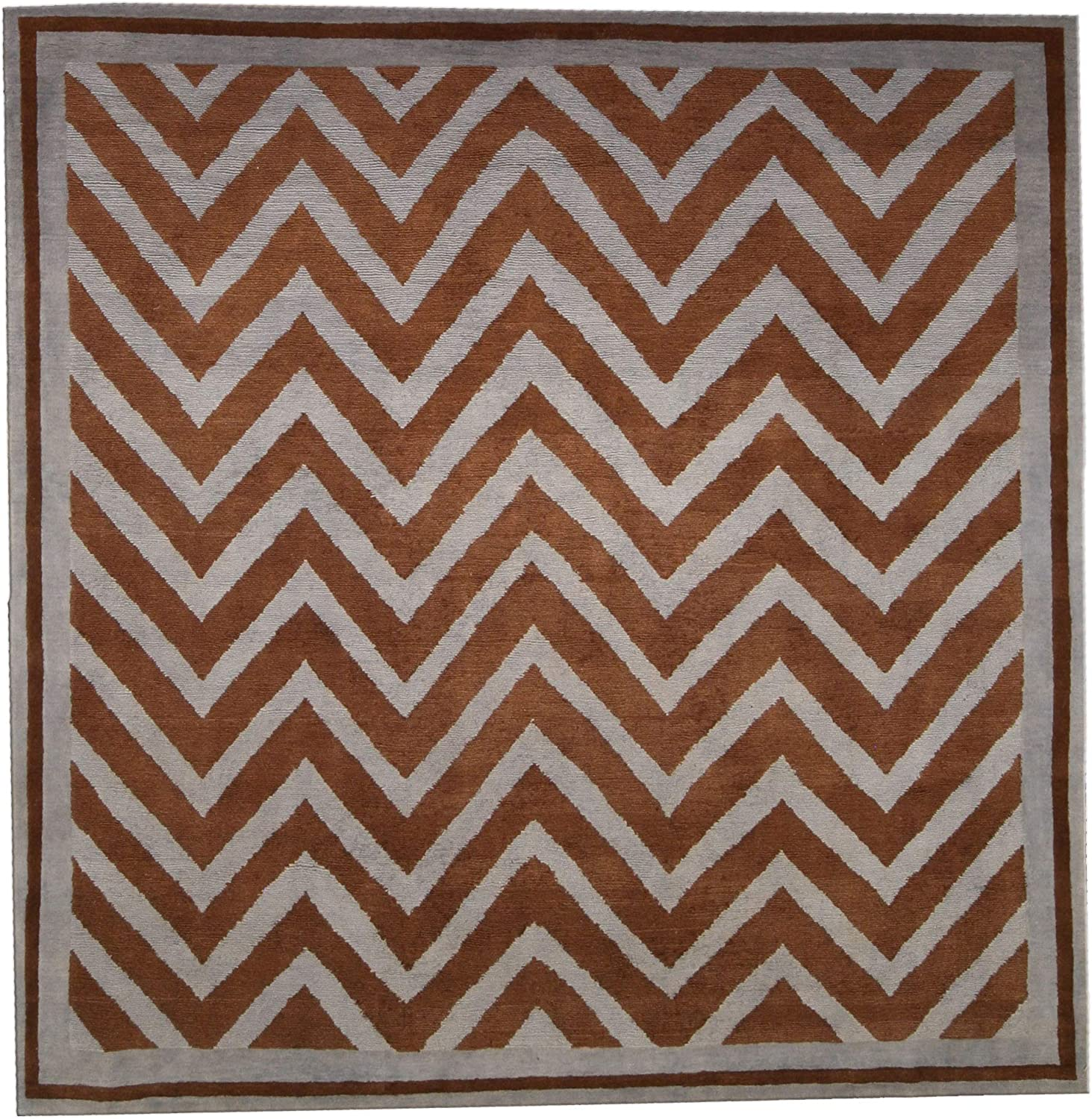 6' x Ranking TOP5 New SN1 Max 44% OFF Gray and Brown Pattern Hand Zig-Zag Knotted Wool