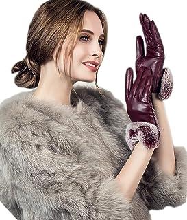 YISEVEN Womens Winter Touchscreen Fur Lined Sheepskin Leather Gloves Rabbit Cuff