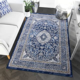 3 x 5 Area Rug Blue & Ivory Oriental Medallion Rug for Foyer Entry Way Scatter Dining Room Transitional Vintage Distressed Design [ 3' 3