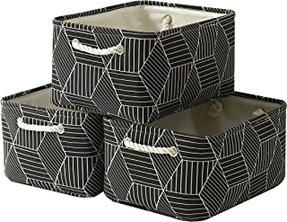 Fabric Storage Baskets for Shelves[3-Pack]Large Baskets Set Collapsible Baskets for Organizing,Decorative Baskets Bins with Handles for Clothes,Toy,Home Closet Office (Black cube,15.7L×11.8W×8.3H)