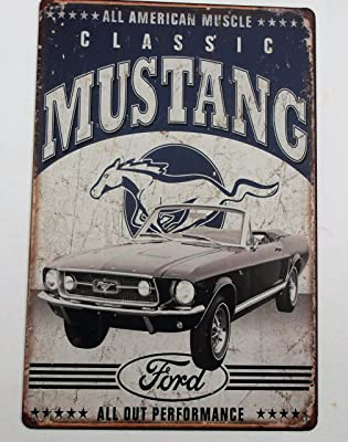 Classic Mustang - Placa Decorativa de Metal para Pared (20 x 30 cm ...