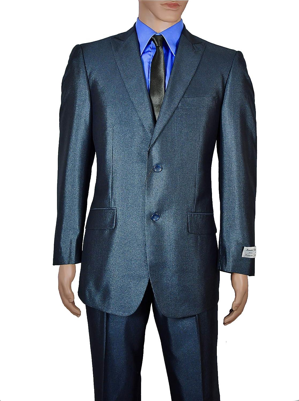 Men's Modern Fit Metallic Blue Pinstripes Two Button Suit (34S)
