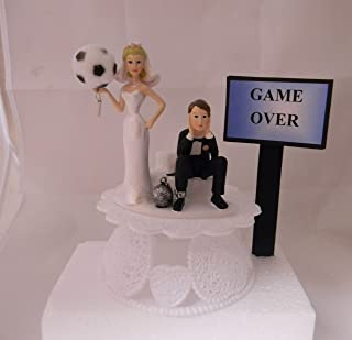 Wedding Party Reception Game Over Sign Soccer Ball & Chain Cake Topper