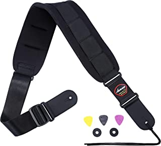 Asmuse Bass Strap Padded Guitar Strap with Leather Ends and 3.7 inch Wide Neoprene SBR Memory Foam plus Inside Pick Holder for Heavy Bass and Guitars Adjustable Length from 47'' to 60''(Updated-Long)