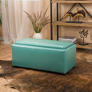 Christopher Knight Home 296833 August Teal 3-Piece Leather Tray Top Nested Storage Ottoman Bench