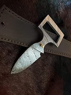 Beautiful Custom Handmade Damascus Steel Hunting Knife. Brown Leather Belt, Sword/Chef Kitchen Knife/Dagger/Full Tang/Skinner/Axe/Billet/Cleaver/Bar/Folding Knife/Tactical EDC & Tool/Kukri/Knife