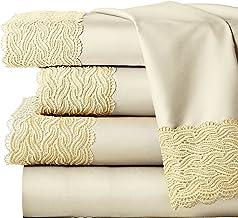 Pointehaven 300TC Combed Cotton Bridal Lace Oversized Sheet Set, Cal King, Ecru