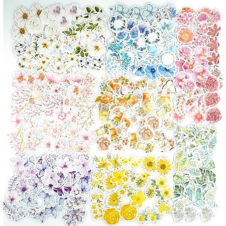 360 autocollants de fleur PC autocollant floral assorti coloré, 8 autocollants de décalcomanie de style autocollants de papier de fleur pour le bricolage d'art