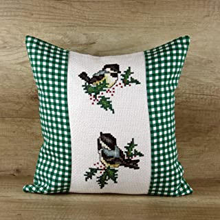 Green Plaid Christmas Pillow Cover Handmade Mouse Hand Embroidered Cushion Gift for Her Women Ladies Lady Rustic Home Decor