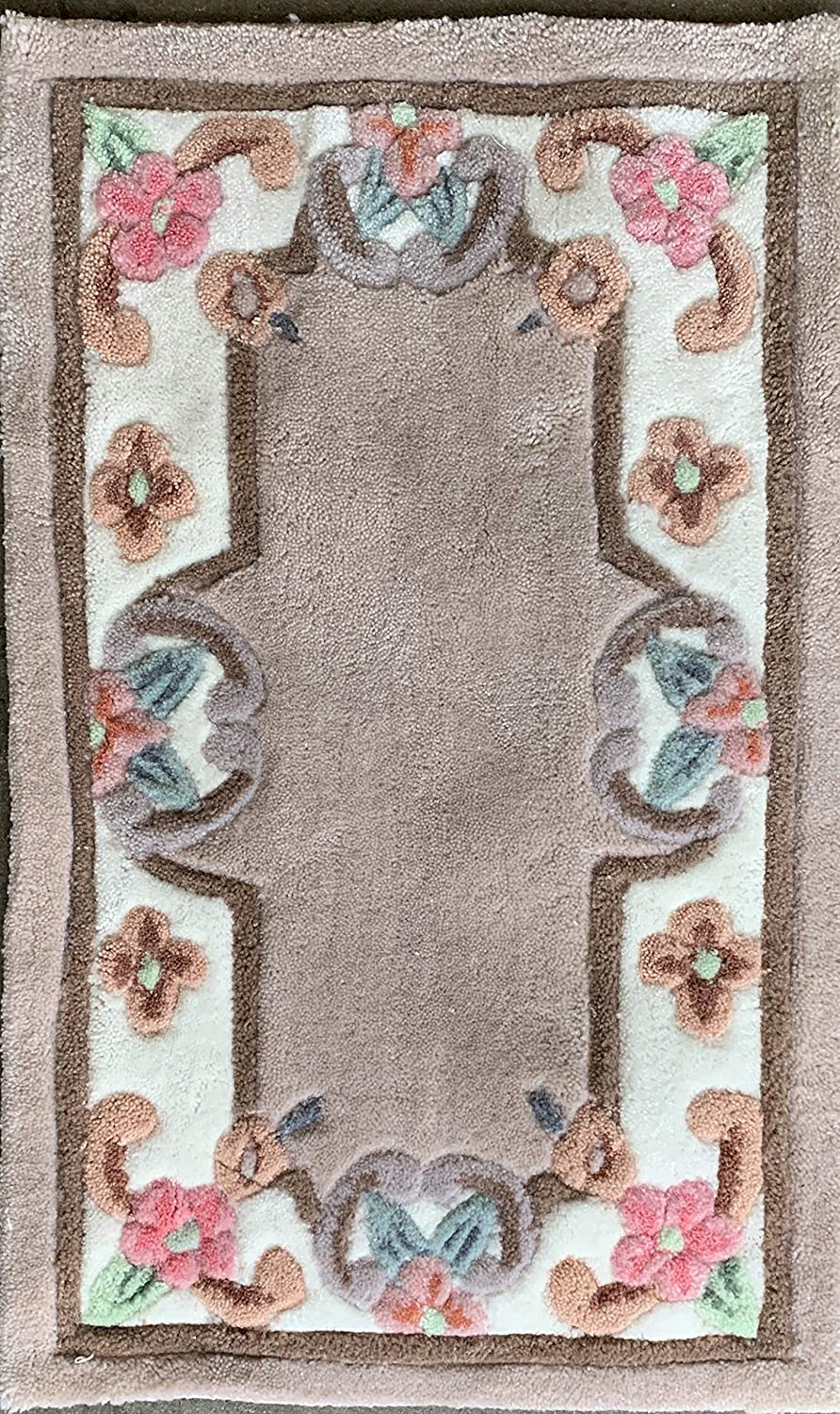 Carpet King Traditional Doormat Persian Handmade Floral Area Rug Beige Ivory Mauve Green Design (18 Inch X 29 Inch)