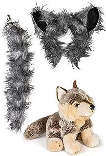 Stuffed Plush Zoo Animal Ears Headband and Tail Set with Plush Toy Animal Bundle