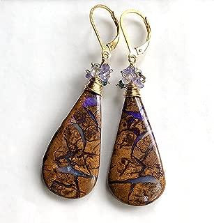 Boulder Opal Earrings, Koroit Opal Earrings, Australian Opal Earrings - Gold Filled