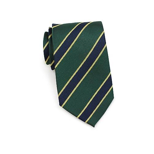 b8edee2d8e24 Bows-N-Ties Men's Necktie British Regimental Striped Silk Matte Tie 3.25  Inches