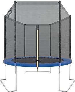 Ultrasport Cama elástica de jardín Jumper, set de trampolin, incluye superficie de salto, red de seguridad, postes acolchados para la red y revestimiento para borde, hasta 120 kg, Azul, Ø 180 cm