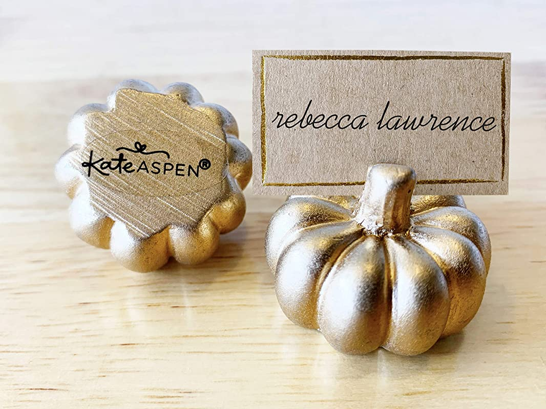 Kate Aspen Place Card Holders Place Cards Included Set Of 12 Table Number Holder For Weddings Gold Pumpkin Photo Holder For Table Assignments At Bridal Showers Or Anniversaries