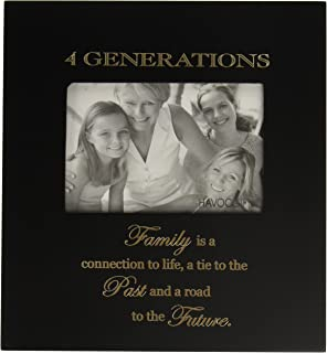 Infusion Gifts 3001-LB Four Generations Engraved Photo Frames, Large, Black