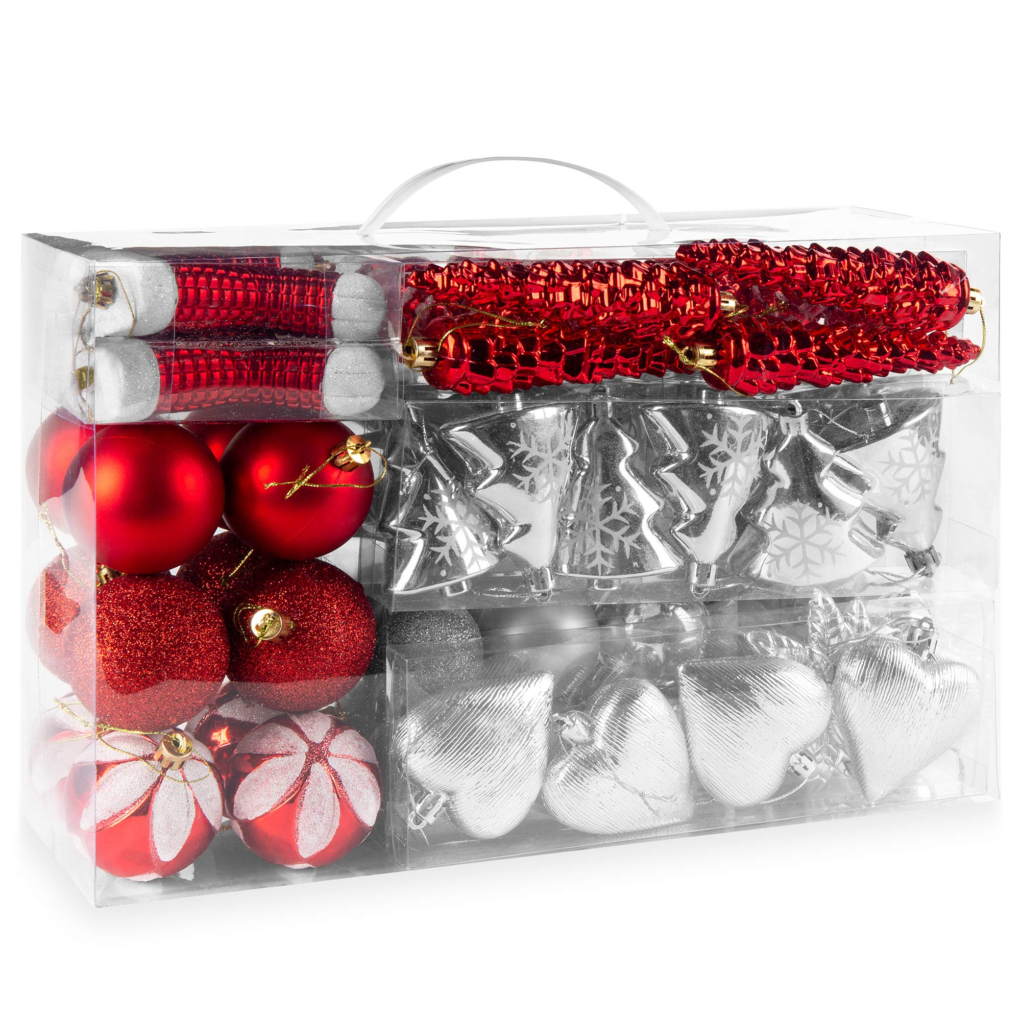 Amazon Com Best Choice Products Set Of 72 Shatterproof Handcrafted Assorted Hanging Christmas Ornaments W Embossed Glitter Design Red Silver Furniture Decor