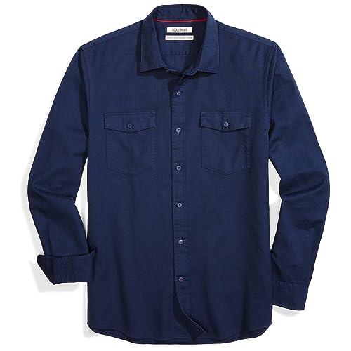 Double Pump Mens Shirts Long Sleeve Casual with Pockets Western Plaid Shirts Reg