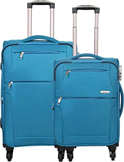 Murano Commando 20/24 Inch Polyster Travel/Trolley/Tourist Bag, 4 Wheels Soft Sided Check-in Luggage - Blue